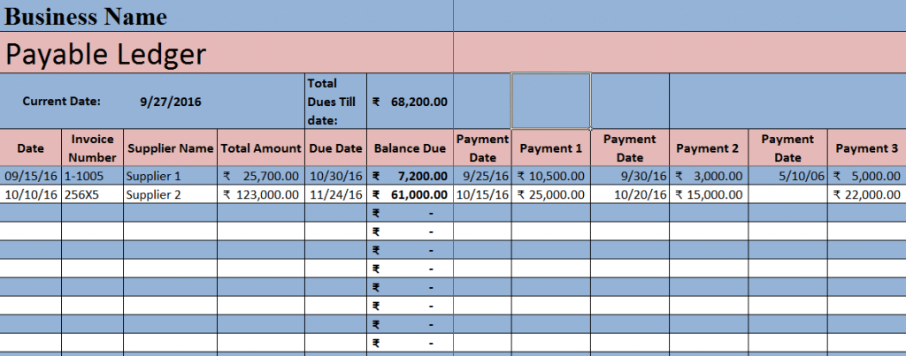 Download Accounts Payable Excel Template Accounts