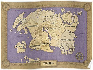 Elder Scrolls map - Tamriel Poster | Elder scrolls map ...