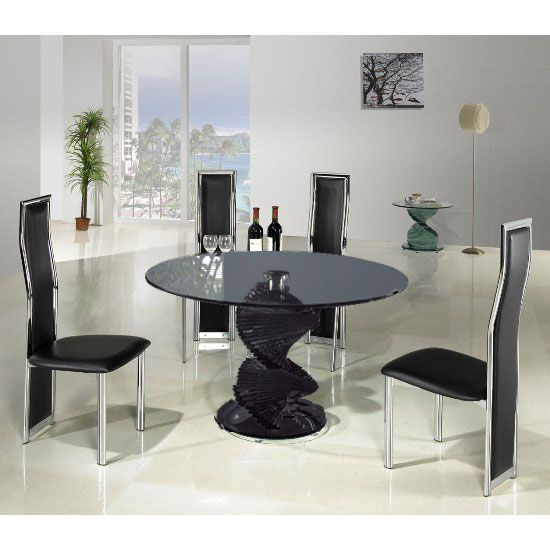 Beau Swirl Smoke Glass Dining Table And 4 G650 Dining Chairs