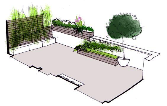 Dise o de jardin para terraza de atico paisajistas - Diseno de jardines madrid ...