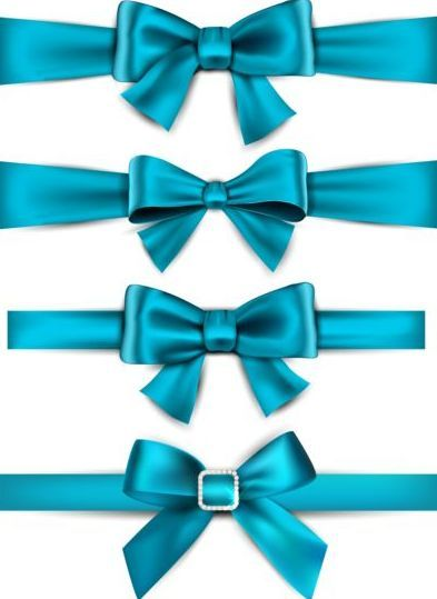 beautiful blue bow design vector