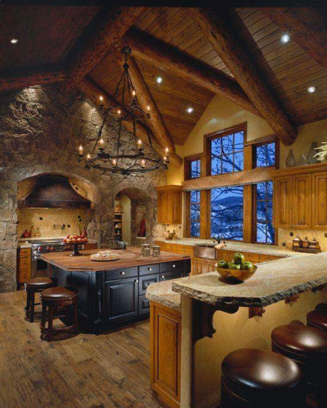 Beautiful log home kitchen #LogHomeInteriors | Log Home Interiors ...