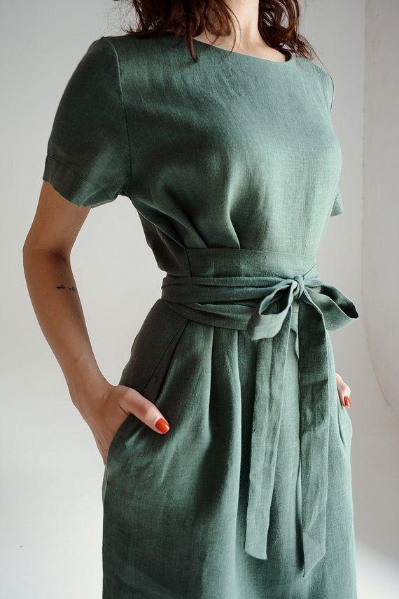 Long linen dress. Bridesmaid dress. Linen tunic. Wrap linen dress. Linen dresses for women. Linen dress. Boho dress. Summer dress