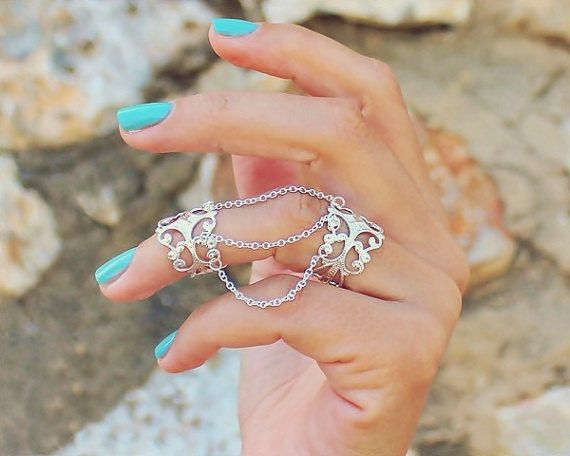 Unique Rings,Boho Rings, Chain Statement Ring, Double Chain Ring ...
