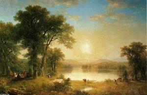 """""""nel `shade` del vecchio quercia albero"""", olio di Asher Brown Durand (1796-1886, United States)"""