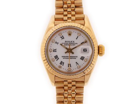 Rolex Lady Datejust White Roman Diamond Dial Fluted Bezel Jubilee bracelet. Pre-Owned Rolex Watches