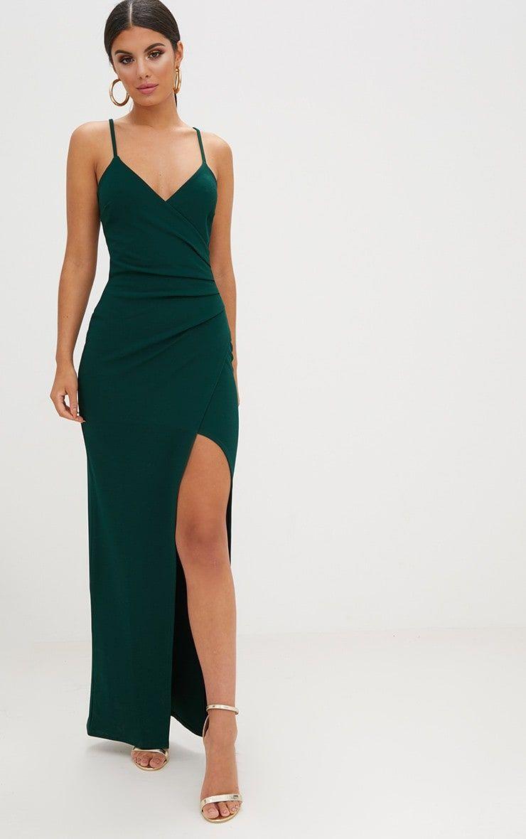 Emerald Green Wrap Front Crepe Maxi Dress. Dresses ...