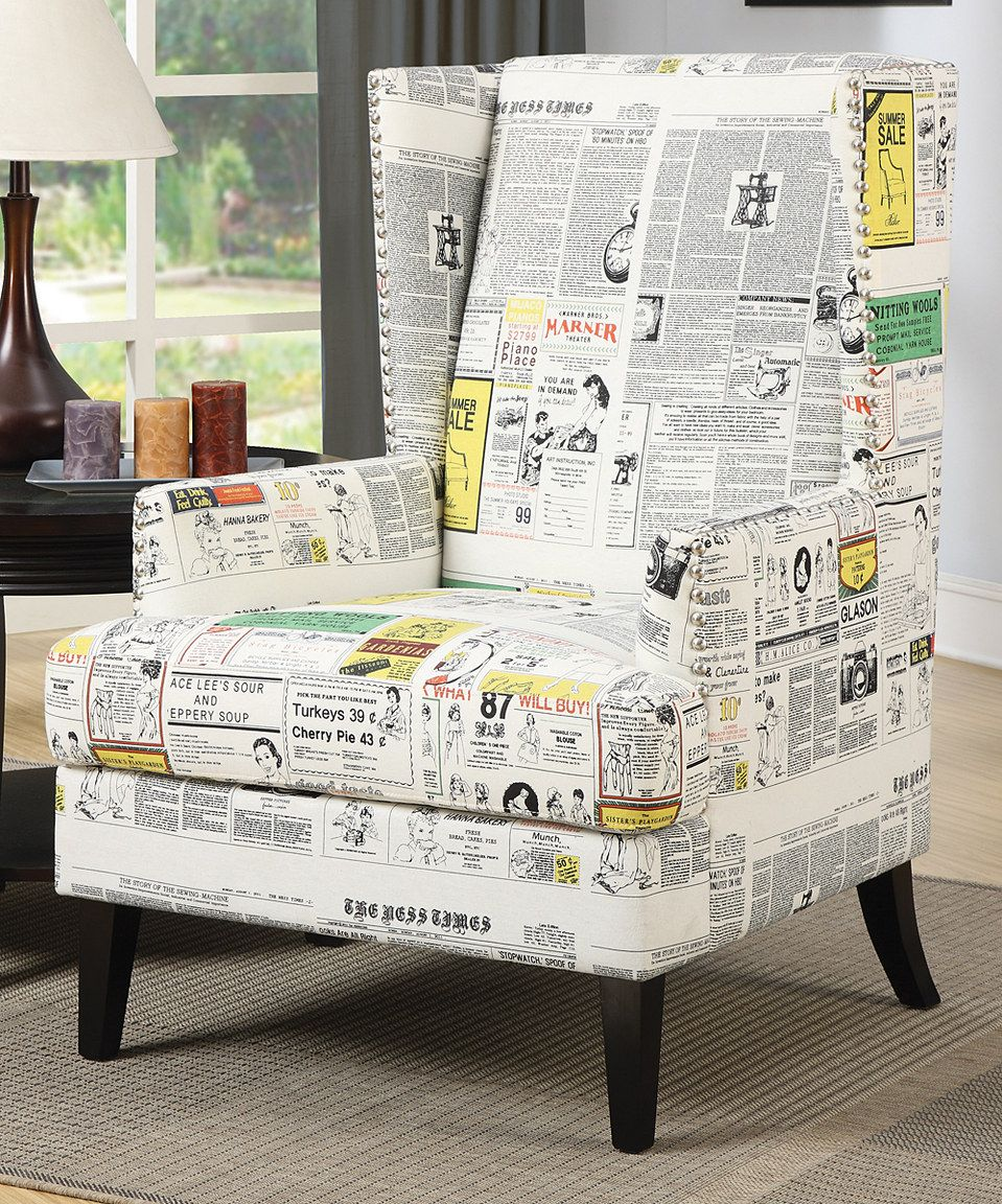 Loving this White Newsprint Chair on #zulily! #zulilyfinds | As For ...