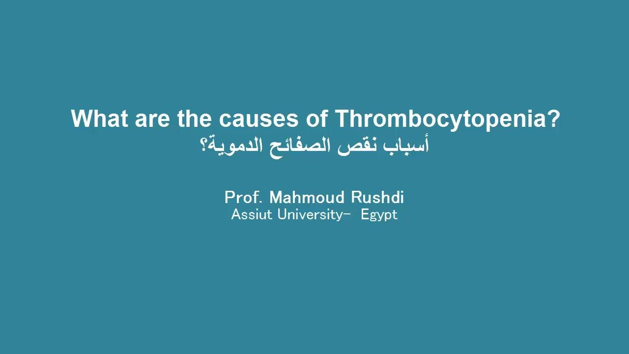 What Are The Causes Of Thrombocytopenia Arabic أسباب نقص الصفائح الدموية Scholarships Youtube Prof