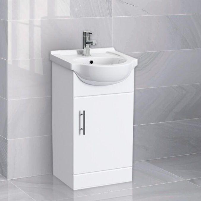 Alabama Freestanding White Basin Vanity Unit 450mm Basin
