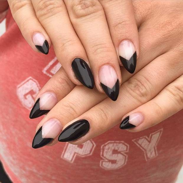 25 Edgy Black Nail Designs Stayglam Edgy Nails Black Nail Designs Gel Nails French