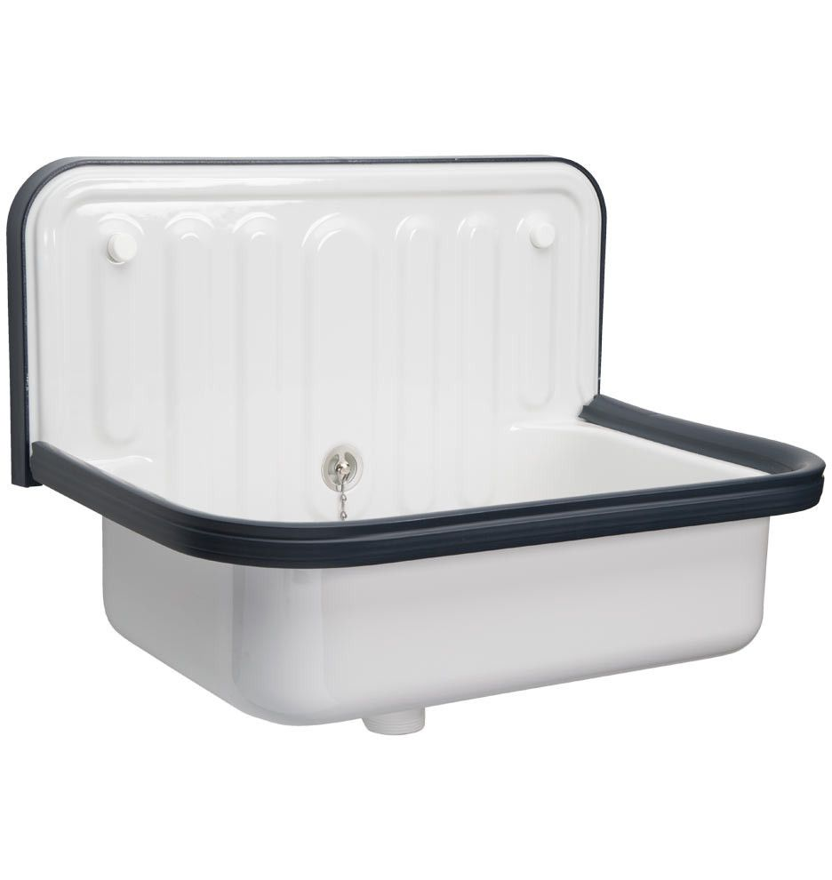 Glazed Steel Utility Sink With Navy Blue Trim   20 In. Wall Mounted ...