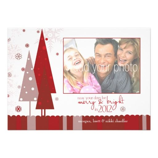 Modern Christmas Holiday Photo Card Red Snowflakes.  $2.05