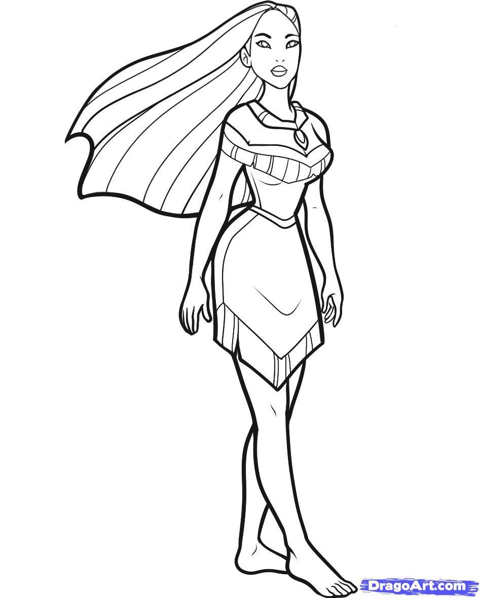 Simple disney princess coloring pages - How To Draw Pocahontas Step By Step Disney Princesses Cartoons Draw Cartoon