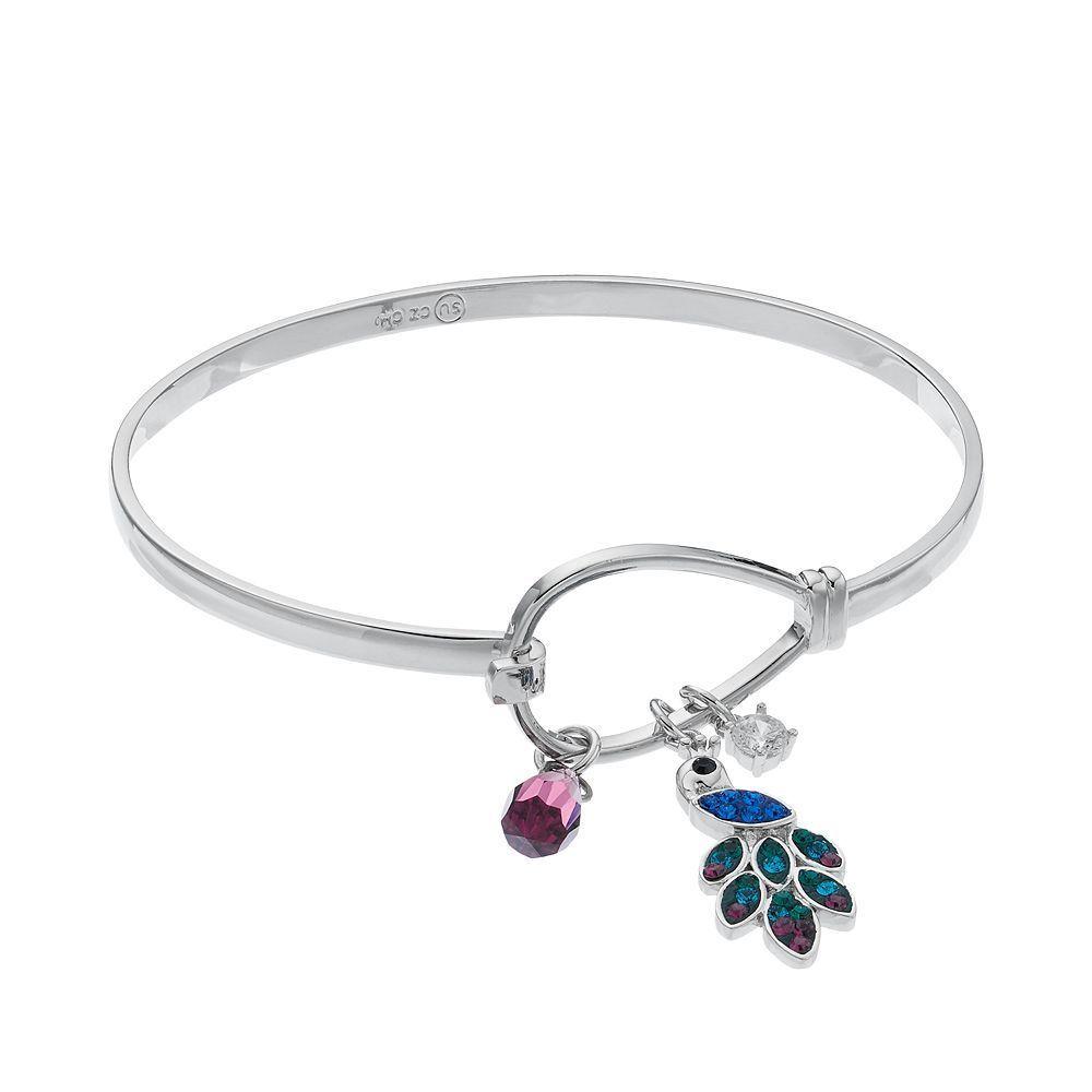 Crystal u cubic zirconia peacock charm bangle bracelet products