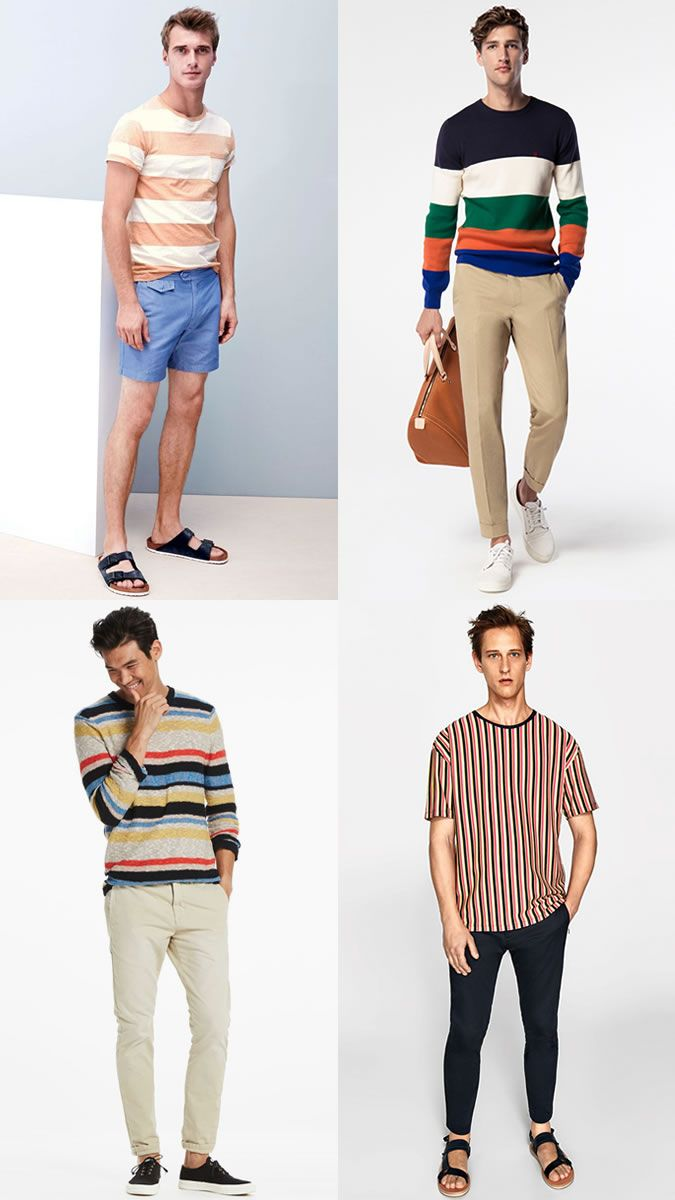 557fdffc31d Men s Bold Coloured Striped Tees and Tops for Summer 2018 Outfits Lookbook  Inspiration