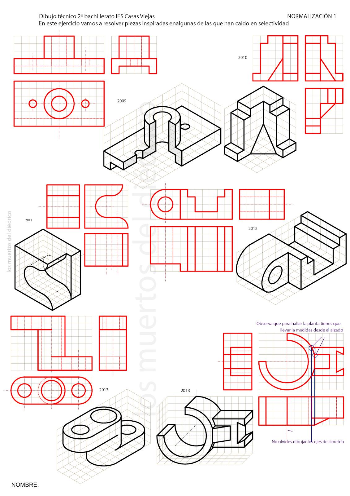 Losmuertosdeldiedrico Vistas Dibujo Geometrico Proyecciones Ortogonales Tecnicas De Dibujo
