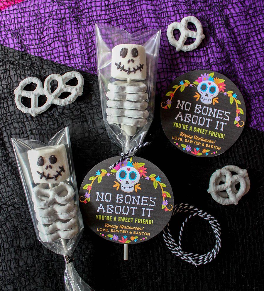 No Bones About It—You're a Sweet Friend: Marshmallow and Pretzel Skeletons - Just Add Confetti #halloweentreatsforschool