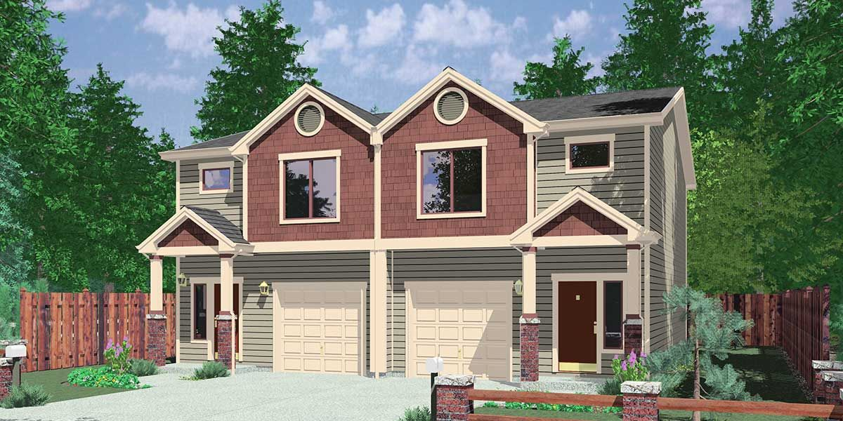 Plan 38019lb duplex with 3 beds in each unit duplex New duplex designs