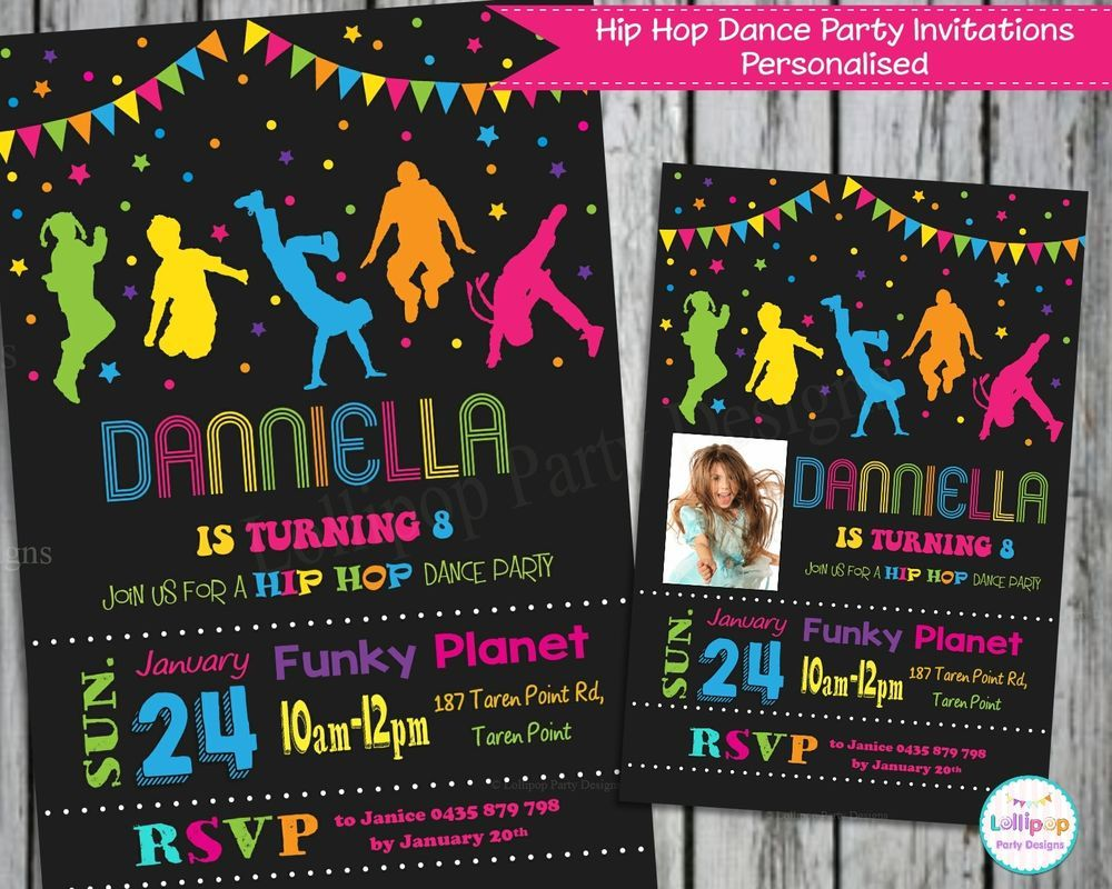Dance party invitations invite personalised hip hop chalkboard ...