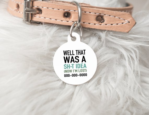 Funny Personalized Dog Tag Well That Was A Sh T Idea Now I M Lost Funny Dog Tag Dog Tags D Funny Dog Tags Dog Tags Custom Dog Tags