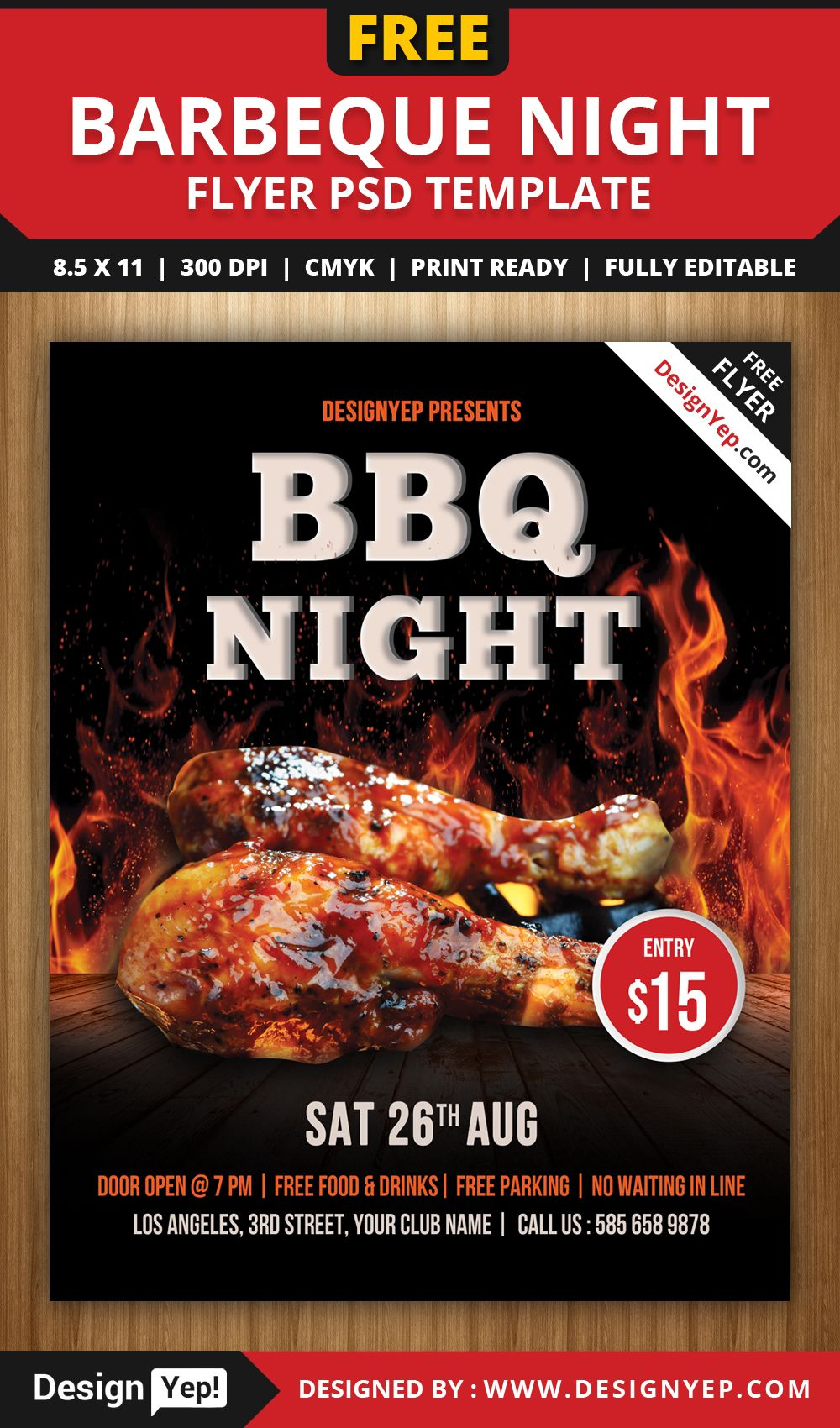 free barbeque night flyer psd template 3456 designyep