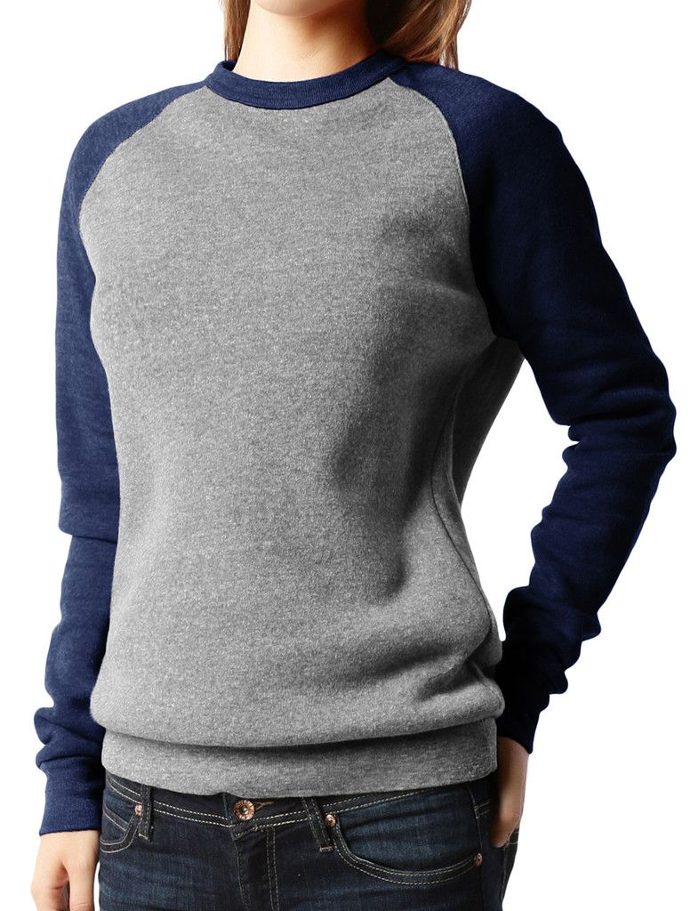 PREMIUM Womens Color Block Raglan Fleece Pullover Sweatshirt ...