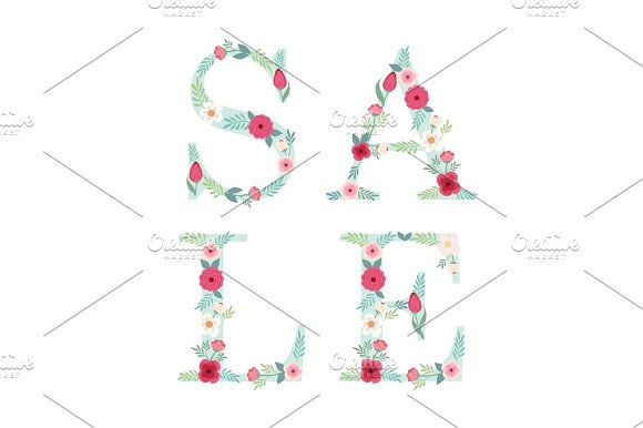 Beautiful Seasonal Shop Banner With Letters Decorated Hand Drawn Rustic Flowers Graphics