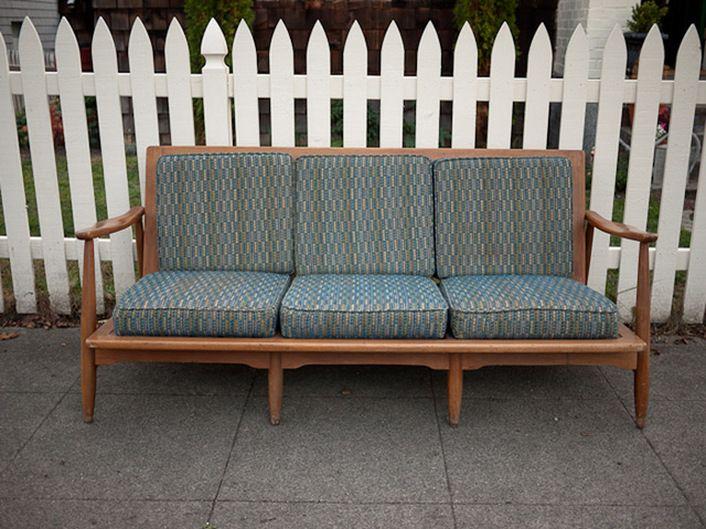 Vintage wood frame couch Backyard Pinterest Vintage wood