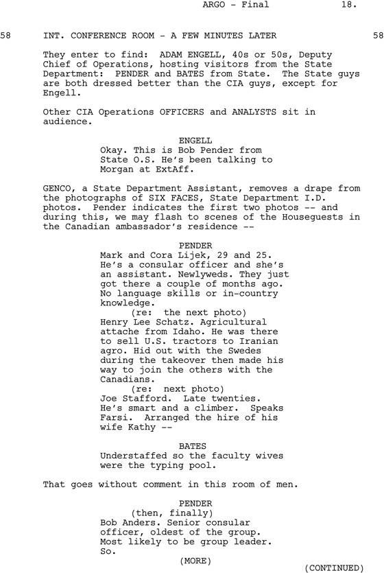 Argo  Tough Scene To Write  Work Stuff    Argo Scene