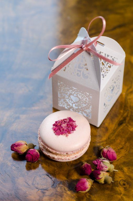 Rose macaron wedding favour – decorated with dried rose bud petals. All naturally coloured and flavoured and made with local ingredients and local truly free range eggs  Photo by Colin Murdoch Studio http://www.colinmurdochstudio.com/