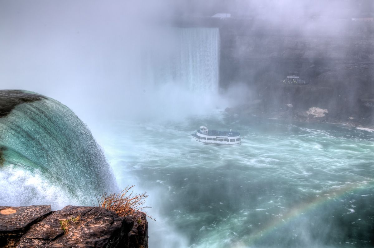 Rainbow in the Mist at Niagara's Horseshoe Falls with the Maid of the Mist up deep into the falls