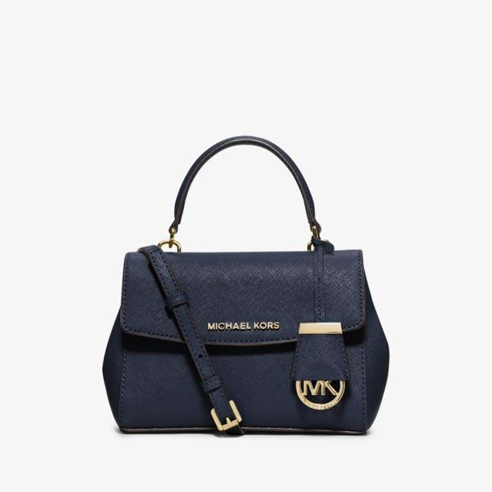 5e38526d3e23 MICHAEL Michael Kors Ava Extra-Small Saffiano Leather Crossbody Bag Navy  Blue