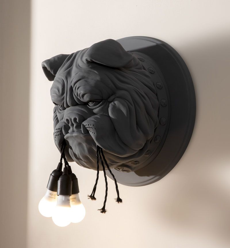 Lightbulbs Hanging From A Bulldog S Mouth Are A Whimsical Feature