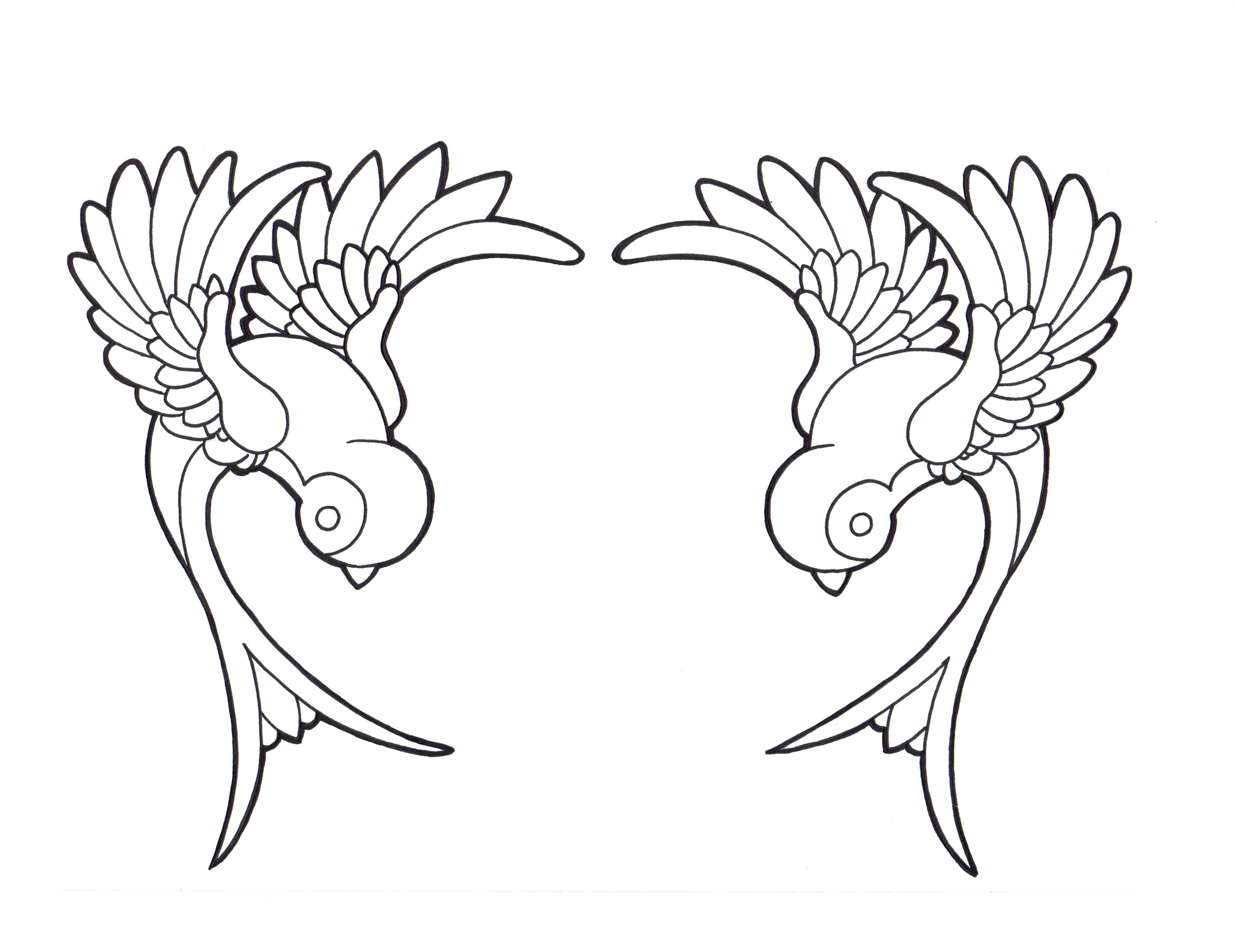 Twin sparrows... quilt corners or shoulder tattoos
