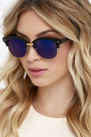 Slip on the Sightseer Black and Blue Mirrored Sunglasses be57376f79f