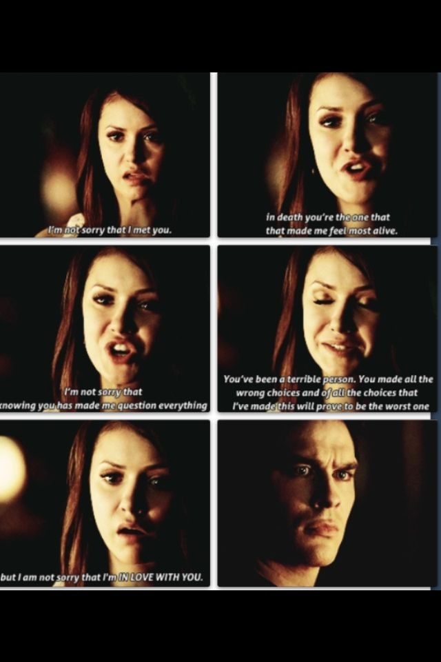 I actually thought she was going to end up with Stefan ! Thank god that wasn't true ! -I almost died when this happened. This entire episode was amazing Vampire Diaries Elena and Damon