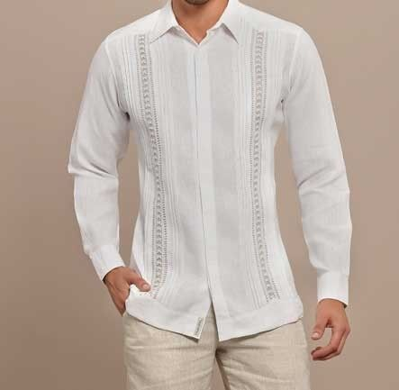 Hidden Buttons Formal Linen Guayabera Long Sleeves Natural Embroidery Handmade Designer Guayabera Back Orders Or Demand Wedding Shirts Guayabera Wedding Mexican Wedding Shirt