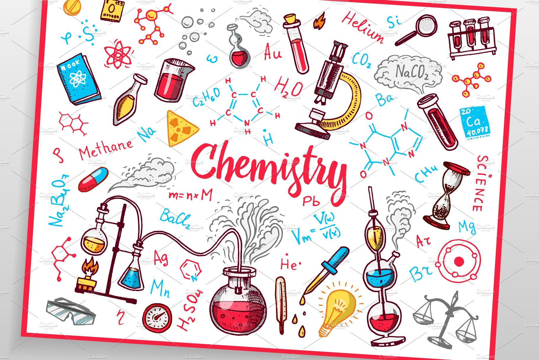 Chemistry Icons Doodle Set In