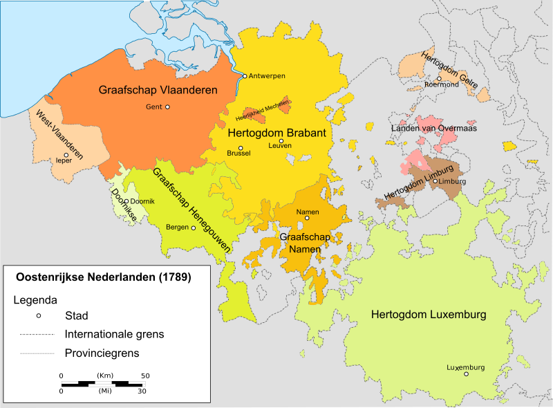 Map showing the areas of the Austrian Netherlands.