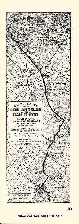 Aaa California Map.Cool Antique Aaa Acsc Strip Map California Los Angeles To San Diego