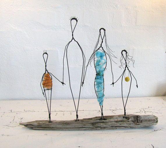 Wire Sculpture. Family Love. Folk Art Series. Mixed Media. Driftwood ...