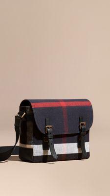 f953dfceda0a Leather Trim Canvas Check Messenger Bag