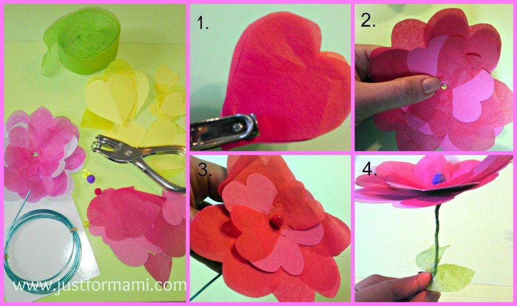 Bouquet de flores de papel flores papel d adelcari o - Manualidades para ninos con papel ...