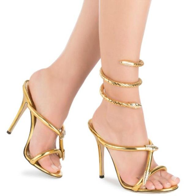 d3b651e1f1ecde 2018 Gold Snake Ankle Strappy Gladiator Sandals Women Open Toe Luxury Satin High  Heel Shoes Woman