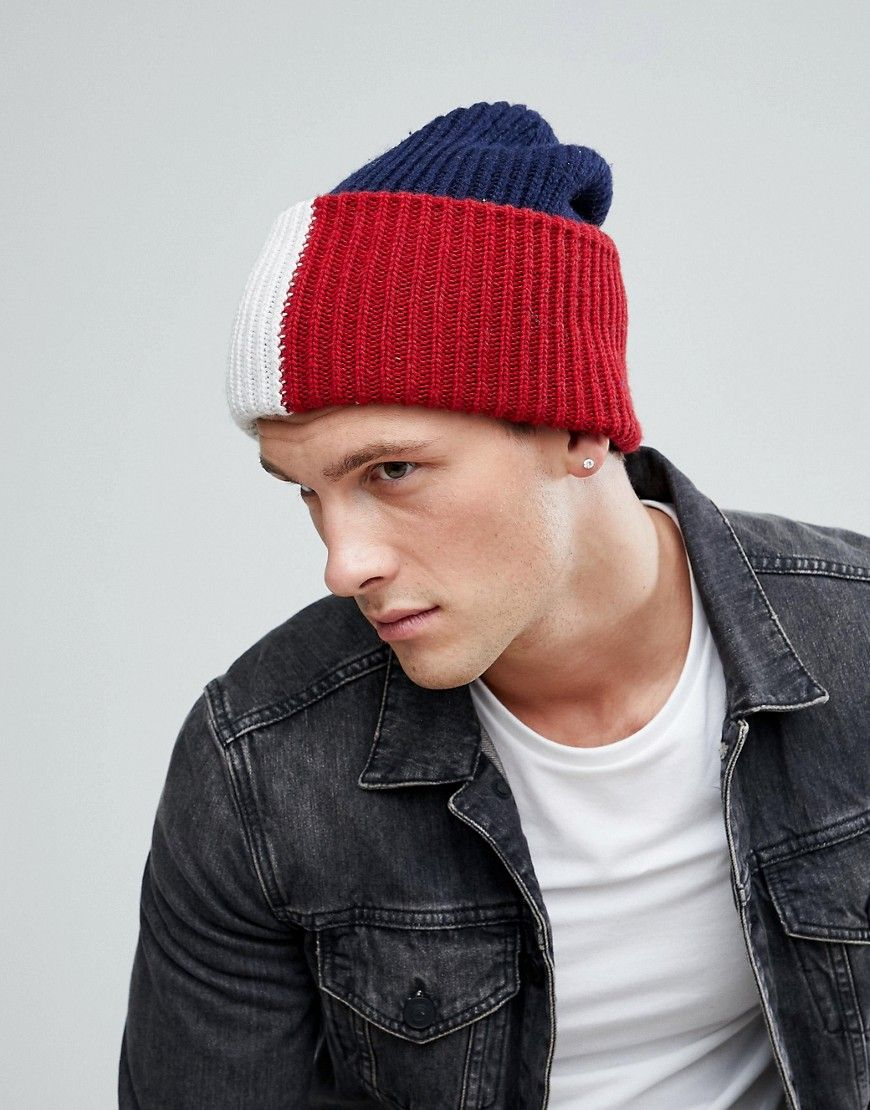 TOMMY HILFIGER OVERSIZE ICON BEANIE IN NAVY - NAVY.  tommyhilfiger ... b886aacb0f7