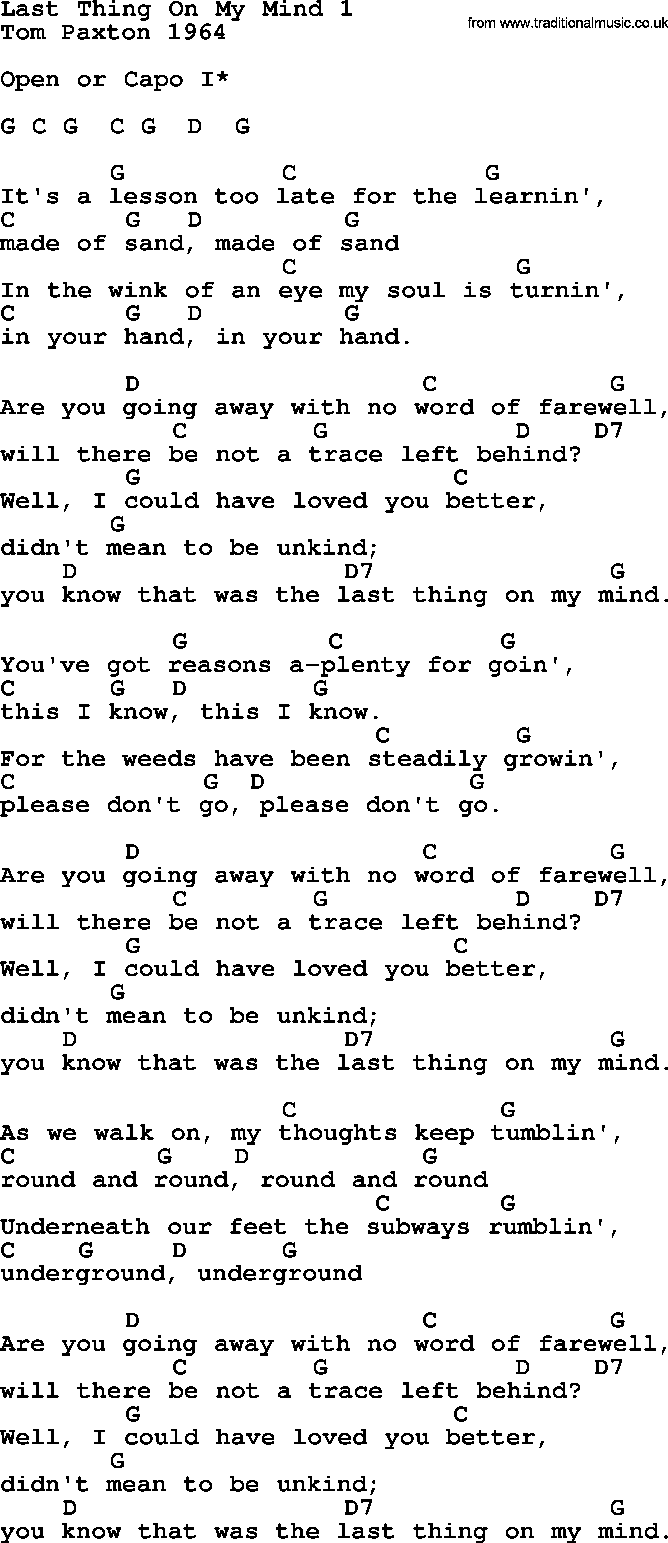 Tom Paxton Song Last Thing On My Mind 1 Lyrics And Chords Guitar