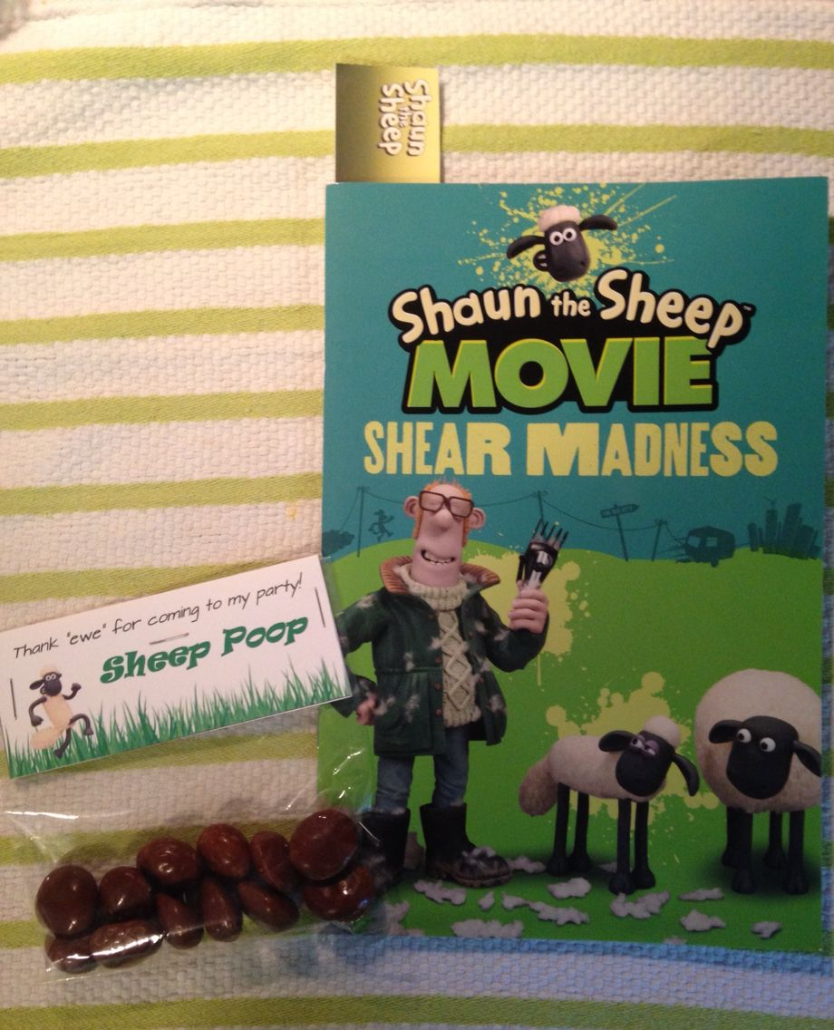 party favors for shaun the sheep birthday party - book with bookmark