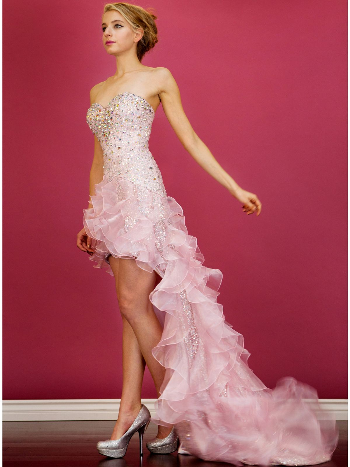 Baby Pink High Low Train Prom Dress. Style #: JC8101. Get yours ...