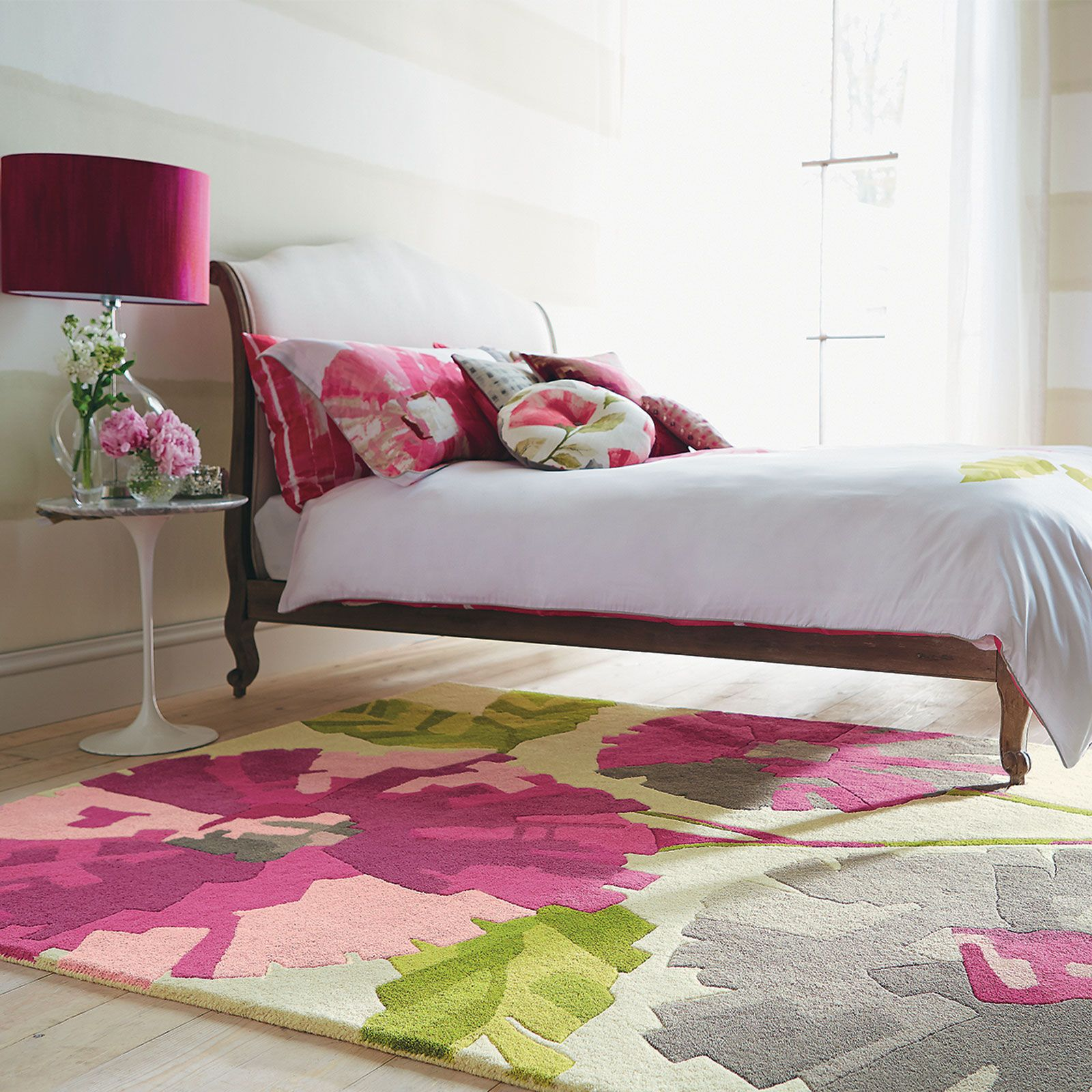 Girly Rugs For Bedroom: A Girly Pink Bedroom Accompanied By A Floral Rug And